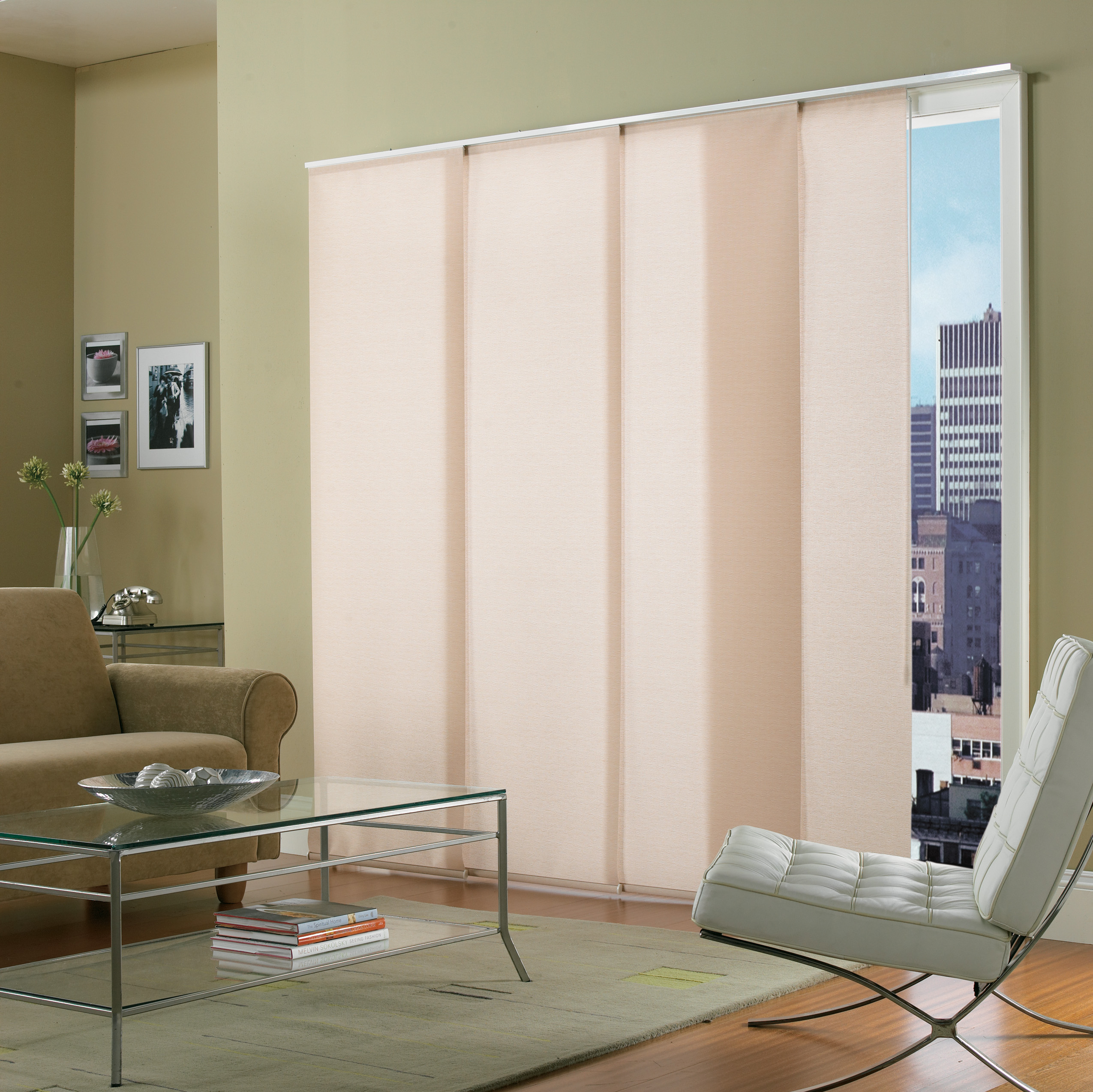 Elite panel shades elite window fashions for Panel tracks for patio doors