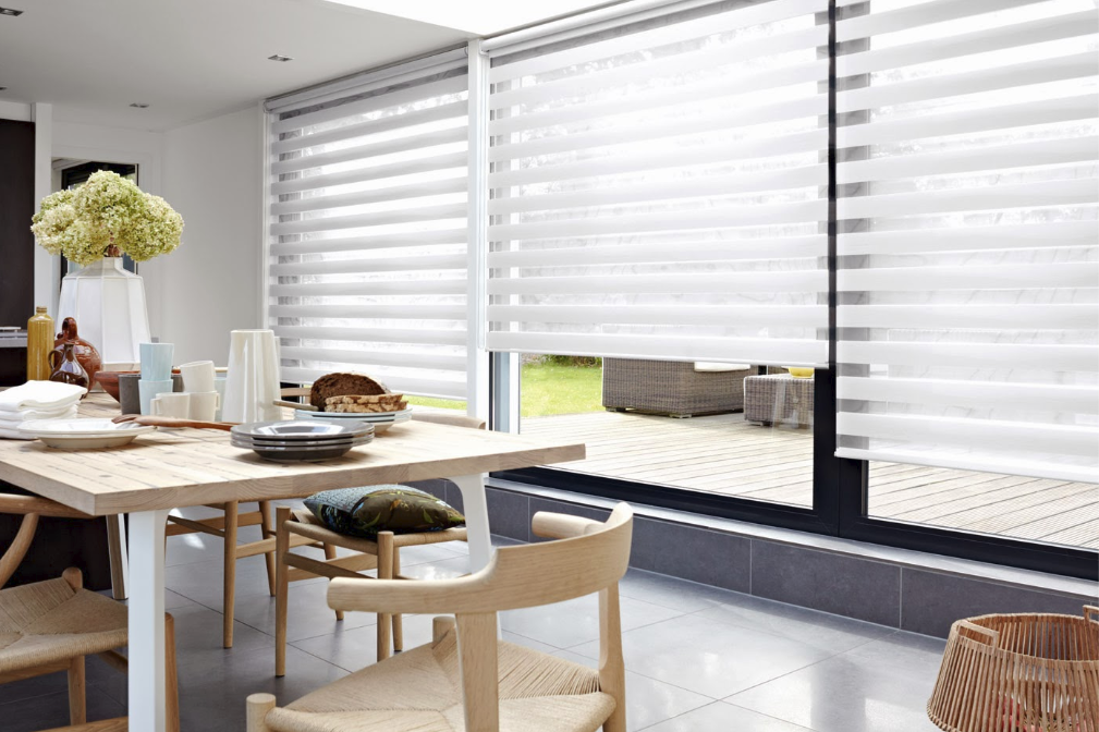 Smart Home Window Coverings and a kitchen dining table