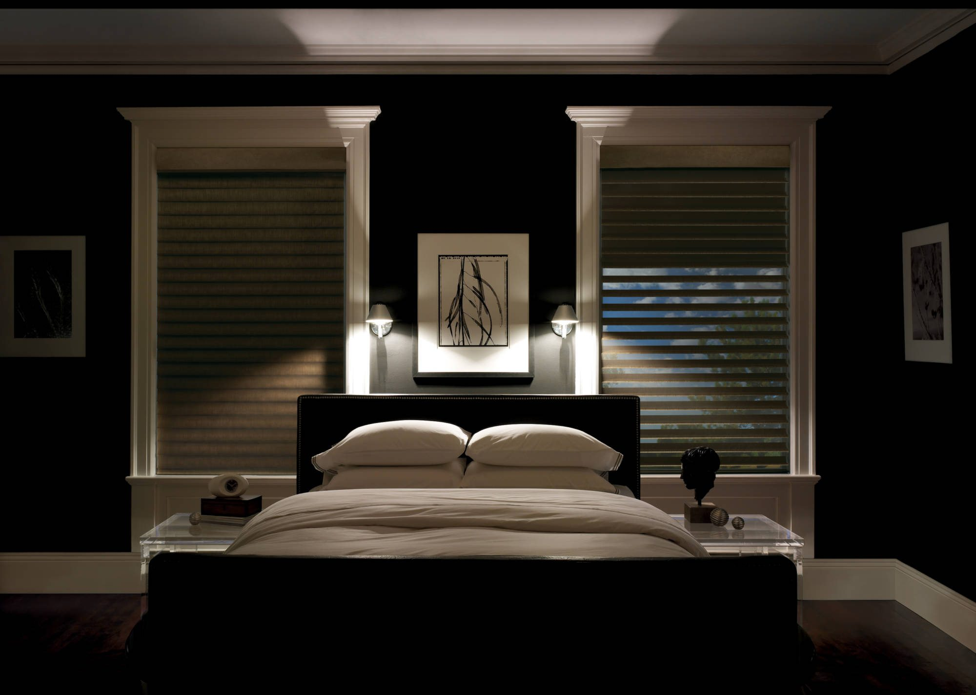 Bedroom with two windows and blackout shades
